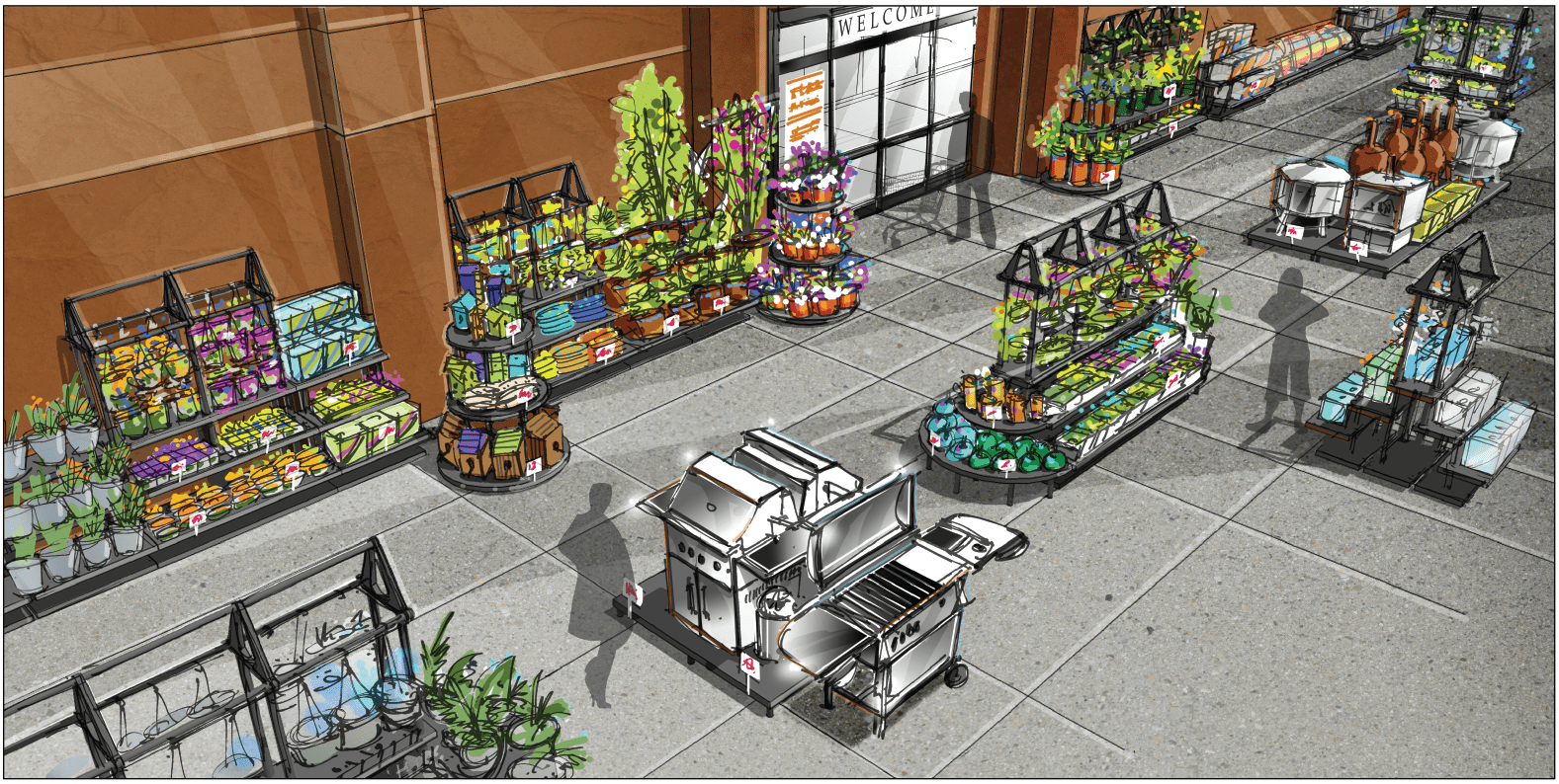 rendering of the inside of a store with plastic display stands