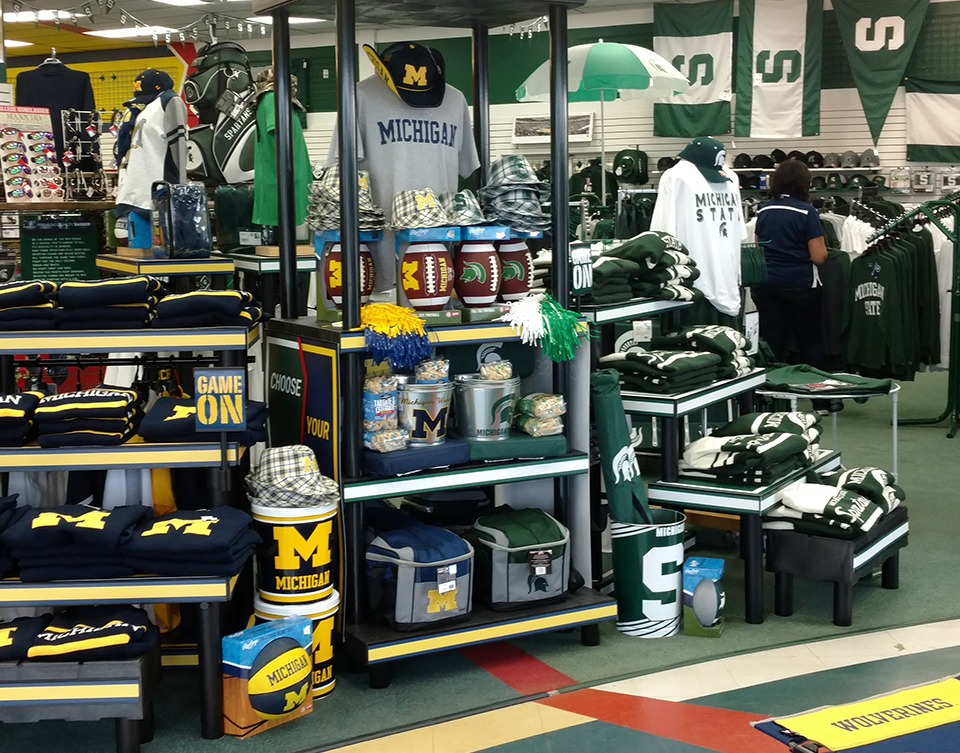 plastic display stands featuring college gear