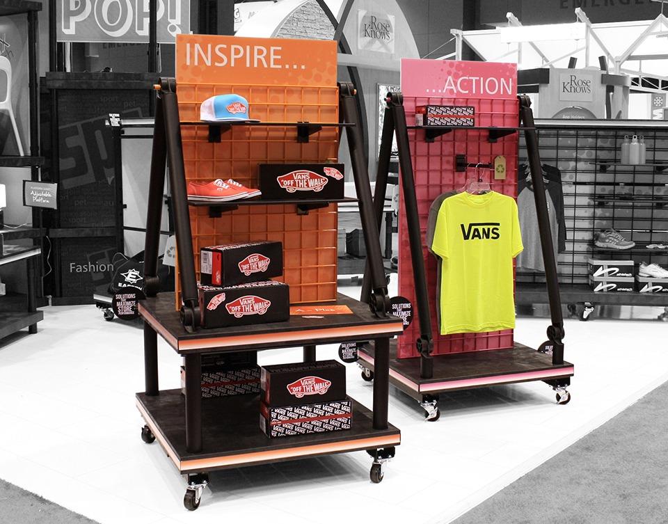 wheeled plastic display stand