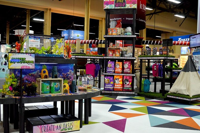 Pet shop display with food, toys and accessories