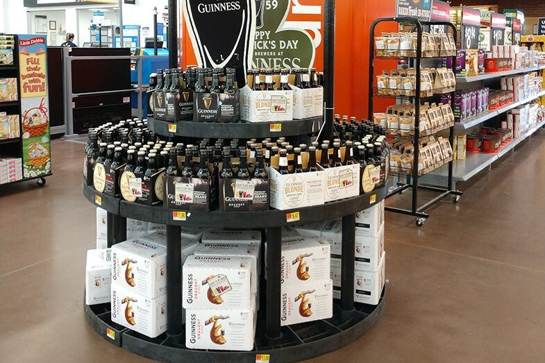 Guinness display in a grocery store