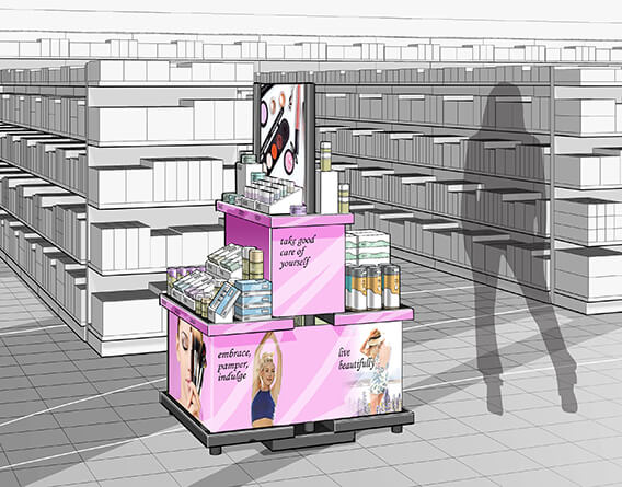Rendering of a cosmetics display design