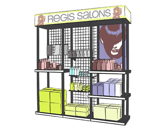 Rendering of a Regis Salons display design