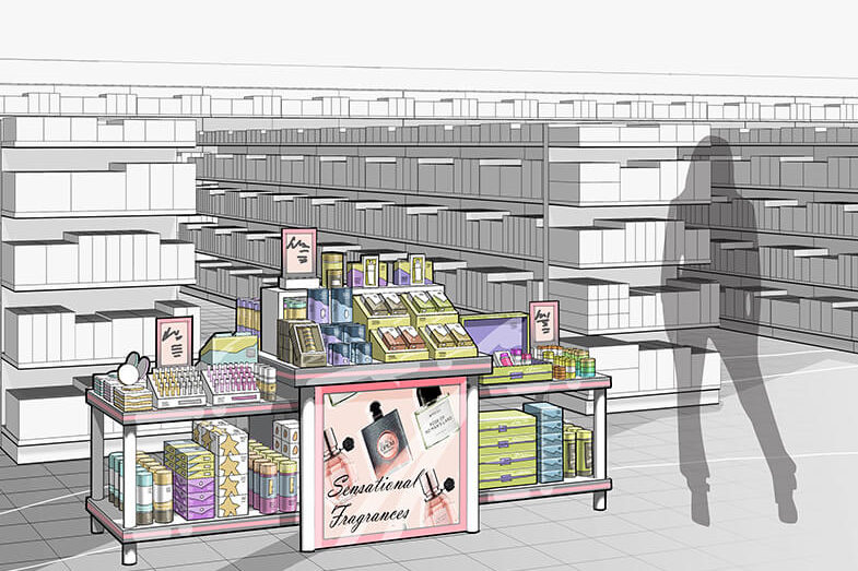 Rendering of a Sensational Fragrances display design