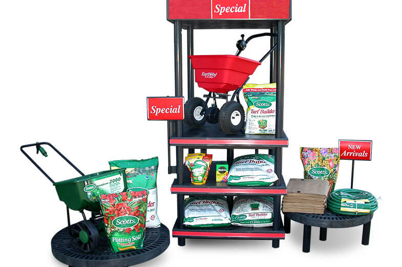 Scott's display with potting soil and walk behind spreaders