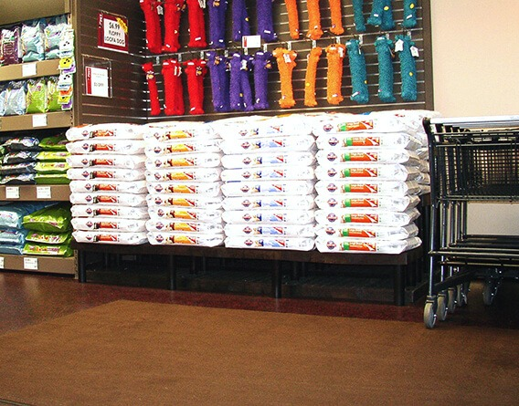 Display of large bags of pet food