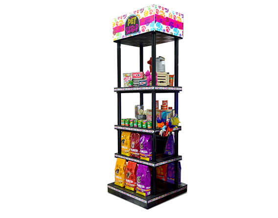 Pet shop display with food and pet toys