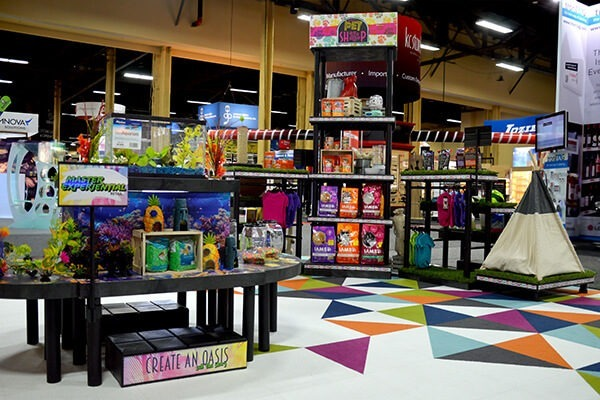 Pet supplies setup on a group of displays in a store