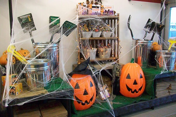 Seasonal retail display for Halloween in a hardware store