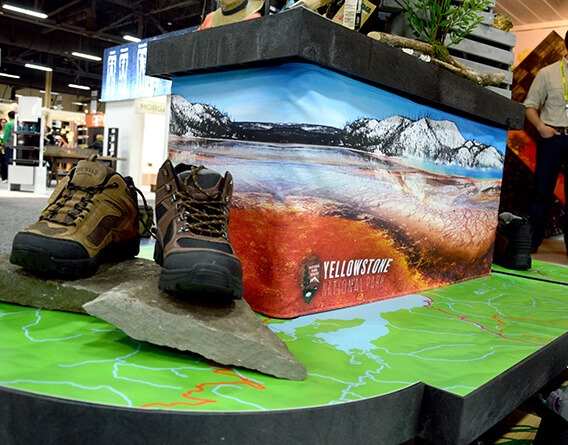 Display of hiking boots