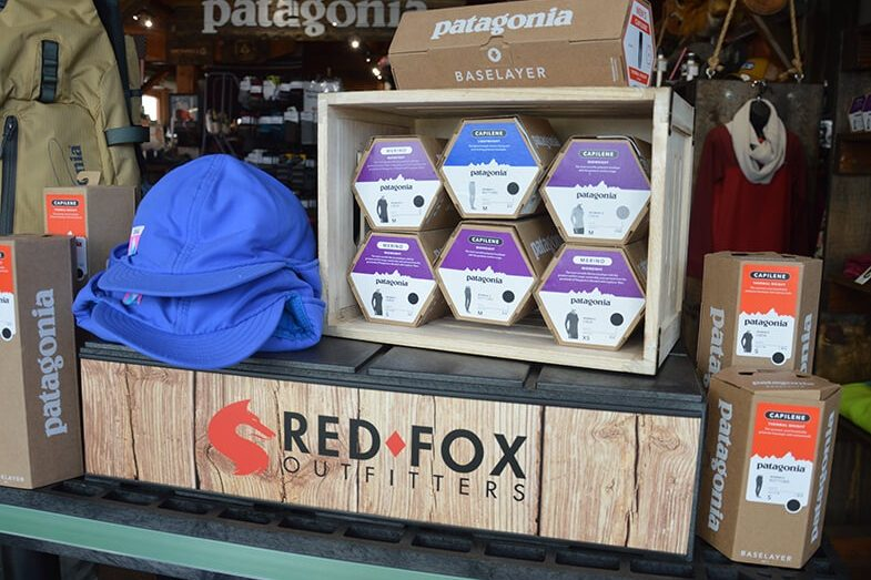 Red Fox Outfitters display of Patagonia baselayer