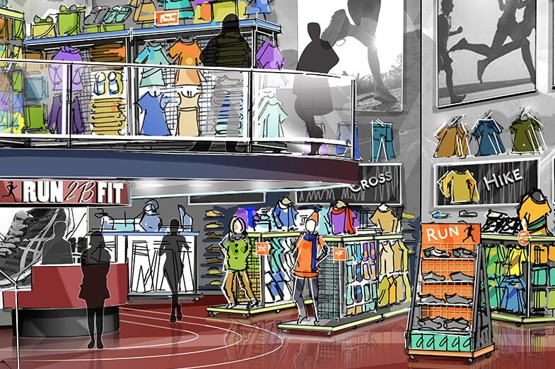 Rendering of Run 2B Fit store design