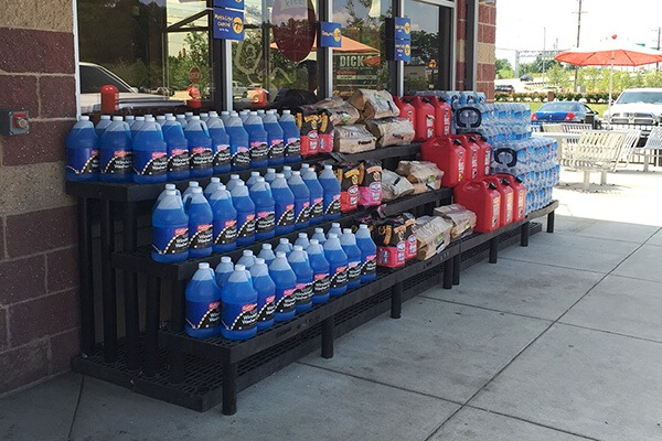 Display of windshield wiper fluid outside of a convenience store