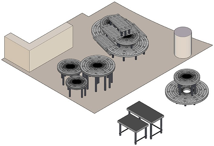 Rendered schematic of the display floor plan.