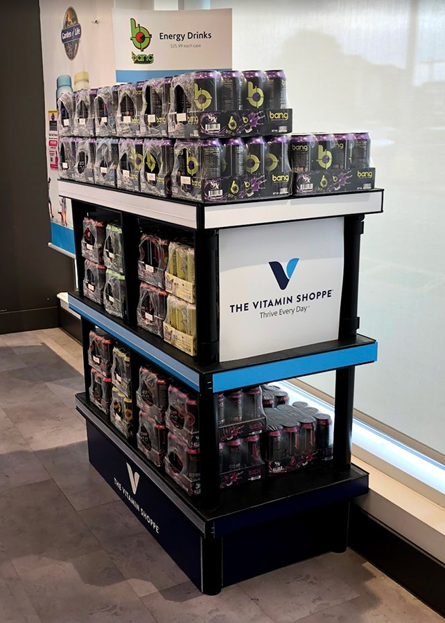 Energy drink display for Vitamin Shoppe.
