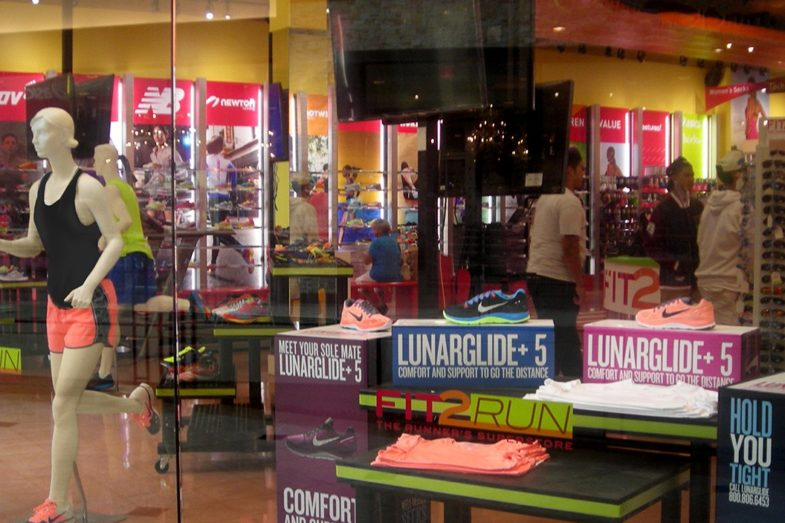 plastic displays at a running store