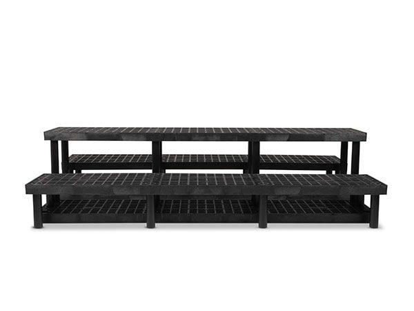 front view of plastic Three Step Heavy Duty Pyramid Display 96x51x24