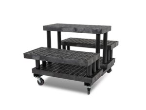 side view of plastic 36-inch Three Step Pyramid Cart