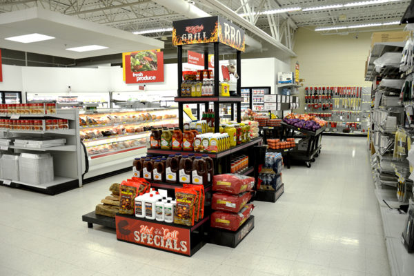 Display of grilling products in a grocery store