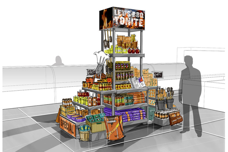 Mockup of a grocery store display