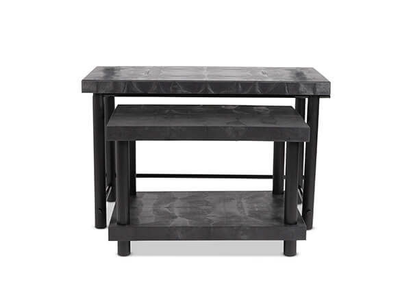 Nesting table set with shelf front view.
