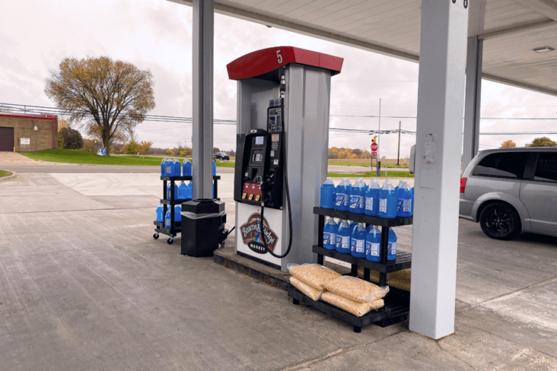displays by fuel pump with automotive fluids